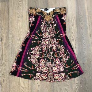 Multicolored Strapless Mini Dress